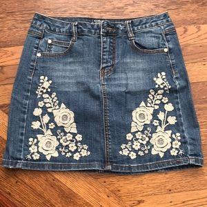 Stetson embroidered denim mini skirt